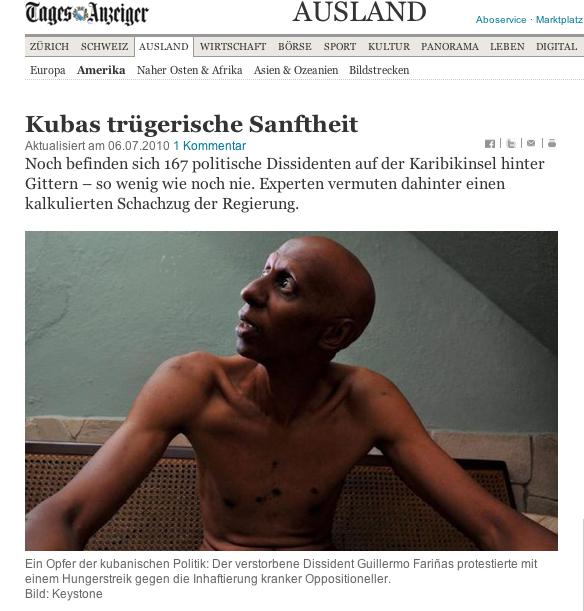Tod in der Bildunterschrift: Guillermo Fariñas im Schweizer Tagesanzeiger