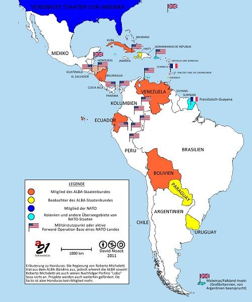 Karte der ALBA-Länder