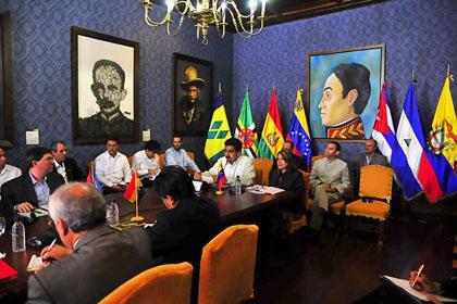Die Vertreter der ALBA-Länder bei ihrem Treffen am Freitag in Caracas