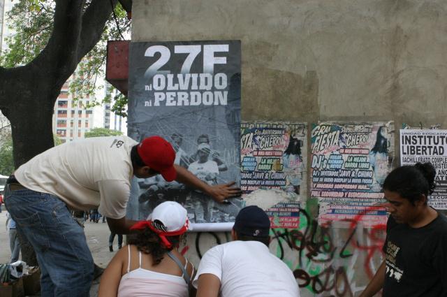 """""""Kein Vergessen, kein Vergeben"""" für den Caracazo fordern Demonstranten (Februar 2010)"""