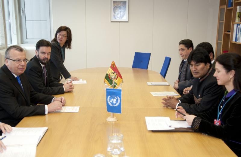 Evo Morales und Juri Fedotow