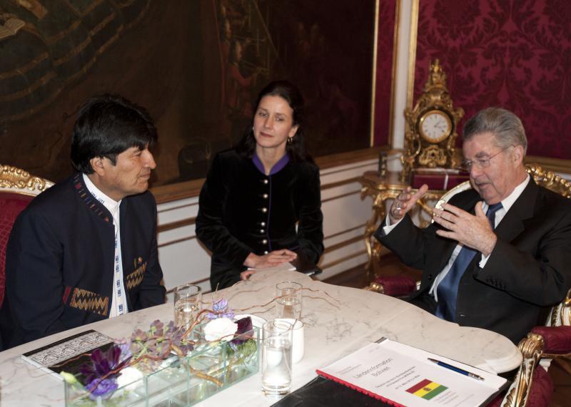 Evo Morales mit Bundespräsident Heinz Fischer in der Wiener Hofburg
