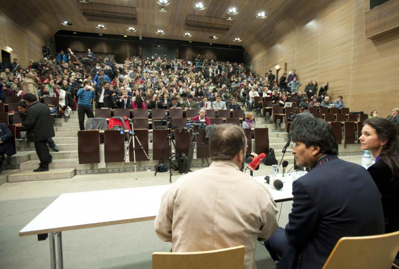 Evo Morales im Hörsaal der Universität Wien