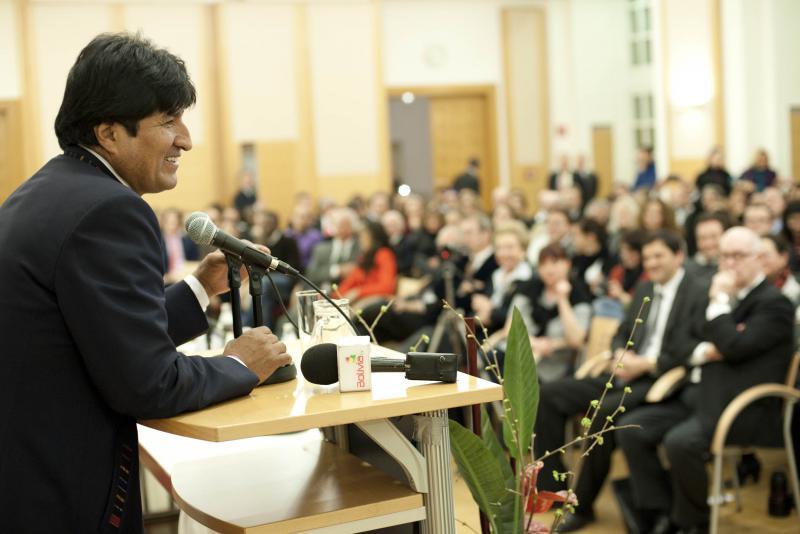 Evo Morales bei seinem Vortrag in der Diplomatischen Akademie Wien