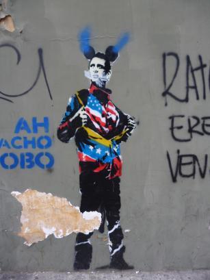 Capriles zeigt sein wahres Gesicht – zumindest bei diesem Graffiti in Caracas. (Foto: Manu)