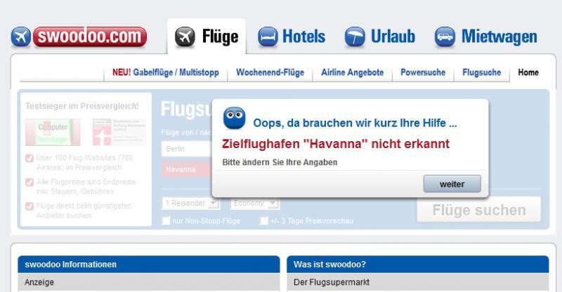 Die Flug-Suchmaschine Swoodoo kennt wegen der Blockade den Flughafen Havanna nicht