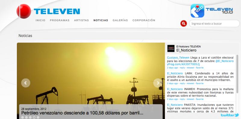 Seite des TV-Kanals Televén