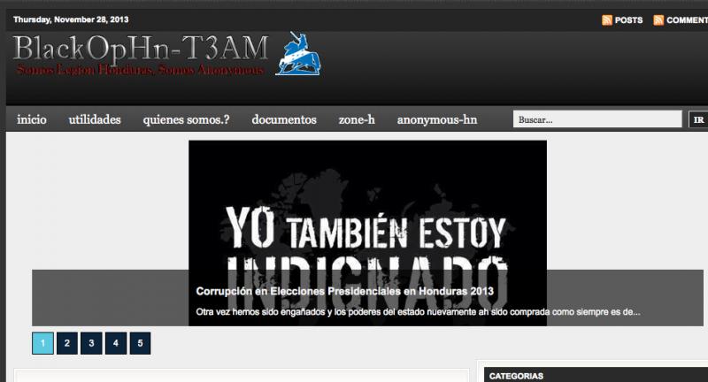 Blog des Hacker-Kollektivs Anonymous Honduras