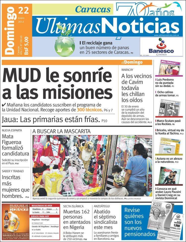 Titelblatt von Ùltimas Noticias: Die Missionen belustigen das Bündnis der Opposition (MUD)