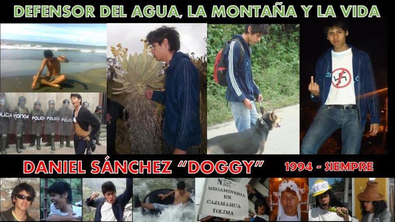 """Collage von Cosajuca für den Ermordeten:   """"Verteidiger des Wassers, der Berge und des Lebens - Daniel Sánchez 'Doggy'"""""""