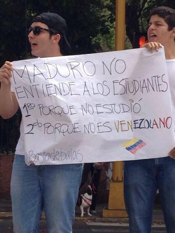 """Oppositionelle Demonstranten: """"Maduro versteht die Studenten nicht 1. weil er nie studiert hat, 2. weil er kein Venezolaner ist"""""""