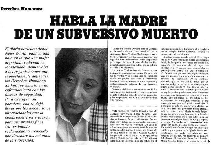 """Das gestellte Interview. Die Schlagzeile: """"Die Mutter eines toten Subversiven spricht"""""""
