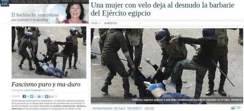 Dasselbe Bild war schon im April 2013 benutzt worden. Nach den gewaltsamen Protesten nach der Präsidentschaftswahl in Venezuela veröffentlichte die Journalistin Ludmila Vinogradof das Bild im Blog der spanischen Tageszeitung ABC - um die venezolanische Regierung anzuprangern