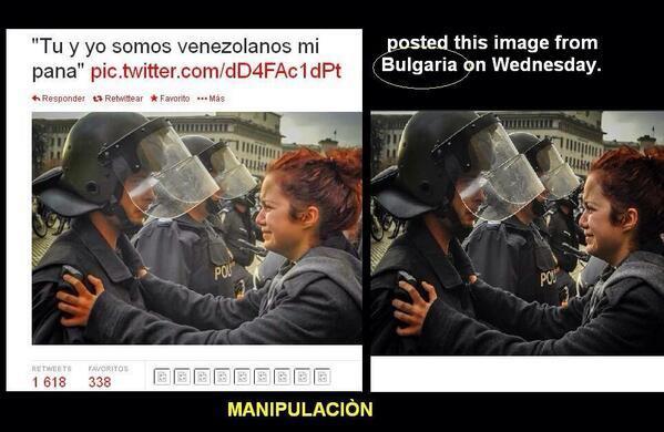 """""""Wir zwei sind Venezolaner"""", steht über dem Bild - das aus Bulgarien stammt"""