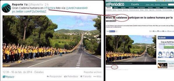 Diese Menschenkette fand scheinbar im venezolanischen Bundesstaat Táchira statt - tatsächlich wollten jedoch Menschen in Katalonien ein Zeichen für die Unabhängigkeit setzen