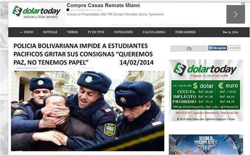 Dass in Venezuela karibisches Klima herrscht, übersah diese Website lieber - und verwendete ein Foto von Polizisten mit dicken Mützen