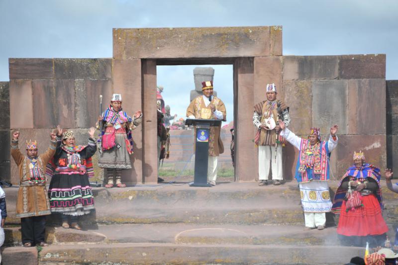 Nach diesen fünf Ritualen hält Morales eine Ansprache an die Nation