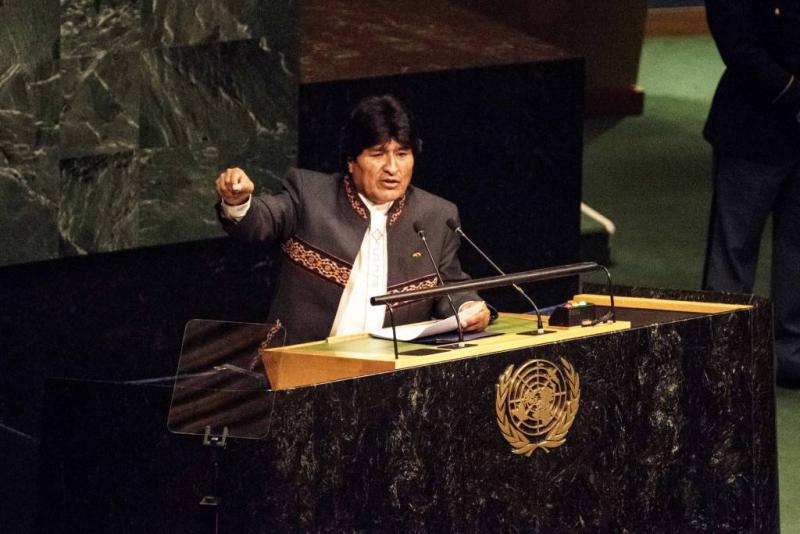Evo Morales bei seiner Ansprache am 28. September 2015  auf der Vollversammlung der Vereinten Nationen