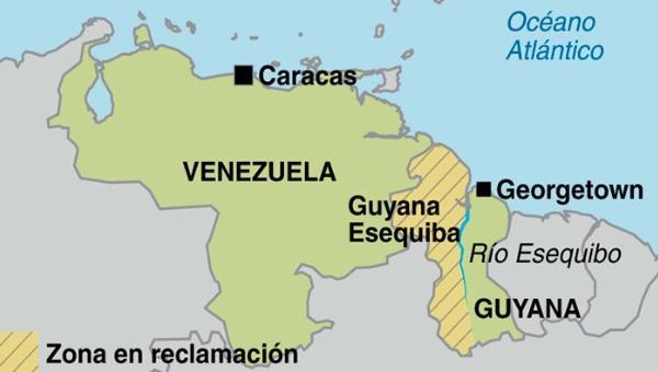 Schraffiert: die umstrittene Esequibo-Region