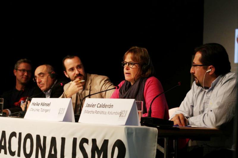 Debatte zur Frage der Chancen und Perspektiven des Internationalismus heute mit Malte Daniljuk (Journalist), Kubas Botschafter Rene Juan Mujica Cantelar, amerika21-Redakteur Harald Neuber, Heike Hänsel (Partei Die Linke) und Javier Calderón (Marcha Patriótica, Kolumbien)