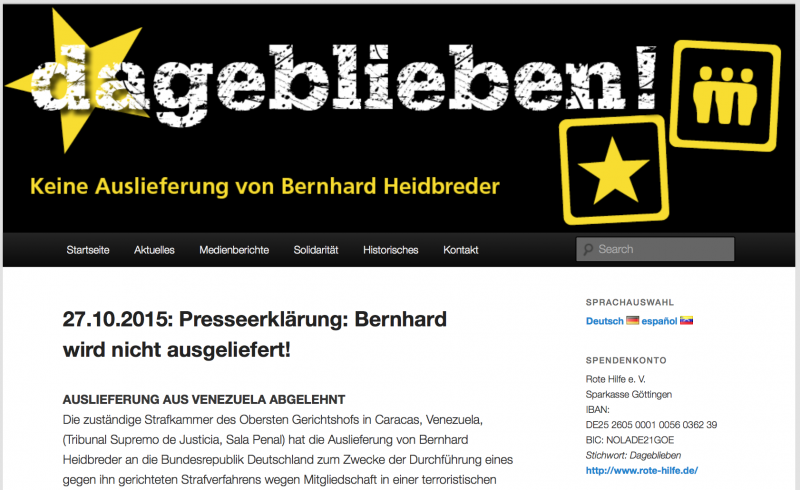 Internetseite von Unterstützern Heidbreders