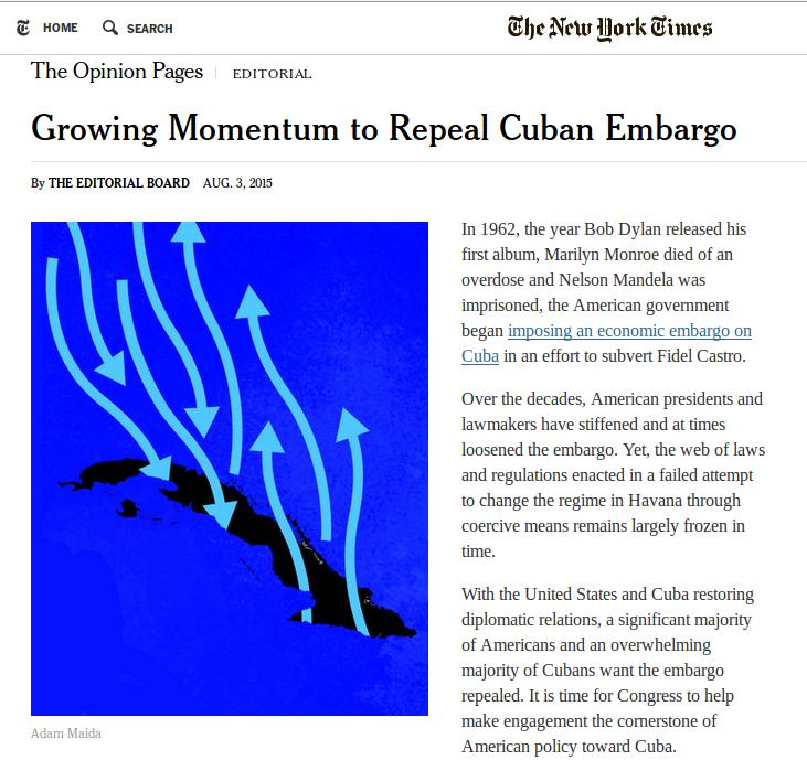 """In ihrem Leitartikel vom Montag fordern die Herausgeber der """"NYT"""" das Ende der Blockade"""