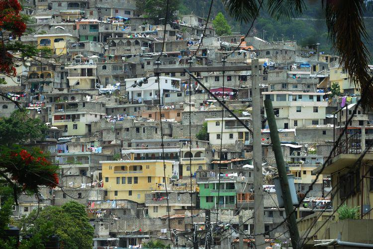 Blick auf die Favelas in Brasilien