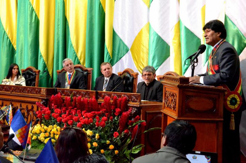 Evo Morales bei seiner Antrittsrede
