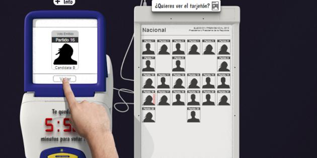 Auf der elektronischen Wahltafel werden Kandidaten ausgewählt, an der Wahlmaschine wird die Stimme abgegeben