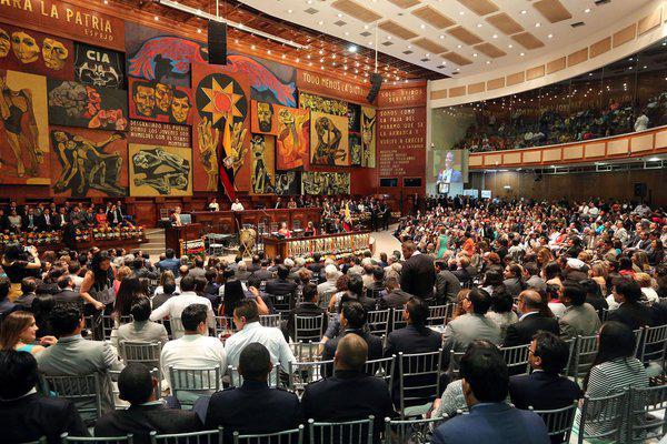 Während Correas Regierungserklärung im Parlamentssaal