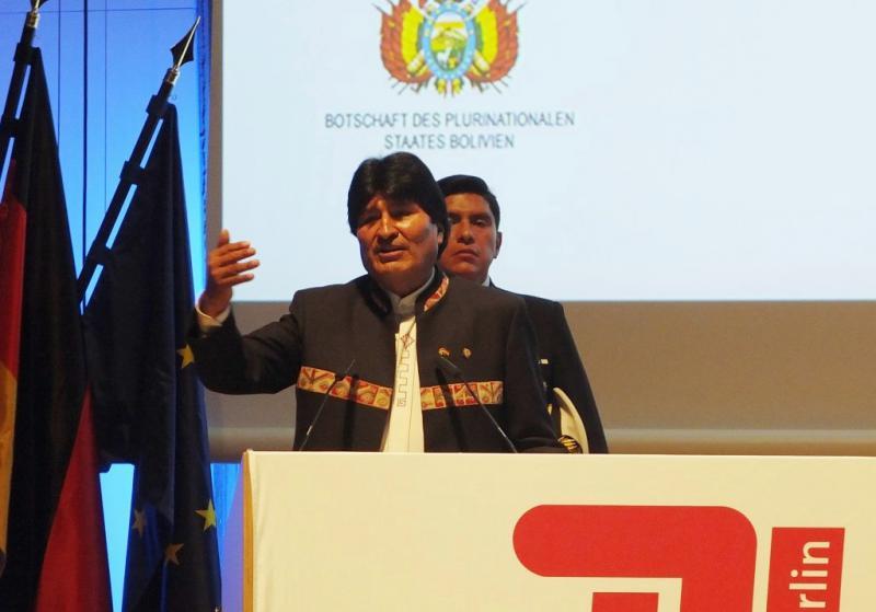 Evo Morales am 4. November 2015 an der Technischen Universität Berlin