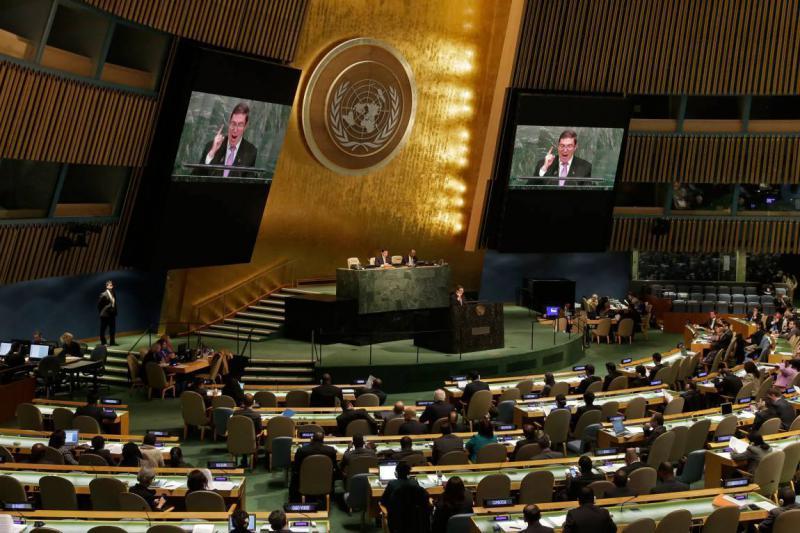 Der Außenminister von Kuba, Bruno Rodríguez Parrilla, vor der UN-Vollversammlung