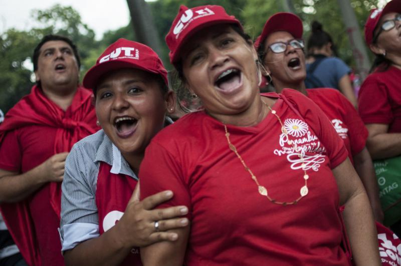 Aktivistinnen der CUT. Auch der größte Gewerkschaftsdachverband hatte zum landesweiten Aktionstag mobilisiert
