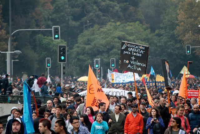 Demonstration für freie Bildung in Chile, hier 2013