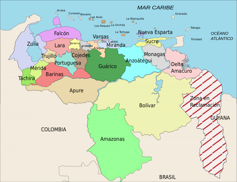 Venezuela und Guayana –das umstrittene Gebiet rechts ist in dieser Karte rot schraffiert