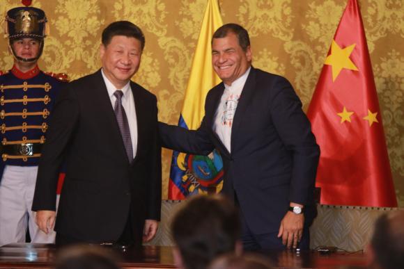 Die Präsidenten von China, Xi Jinping und Ecuador, Rafael Correa