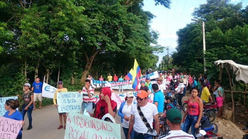 Protest gegen den kolumbianischen Ölkonzern Ecopetrol im Department Cesar