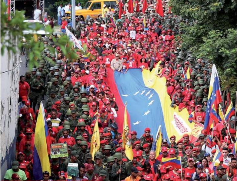 """Zivil-militärische Einheit in Venezuela: Demonstration """"gegen Intervention der USA"""" in Caracas am vergangenen Samstag"""