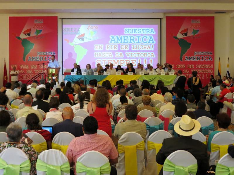 Bei der Eröffnung des 23. Forums von São Paulo