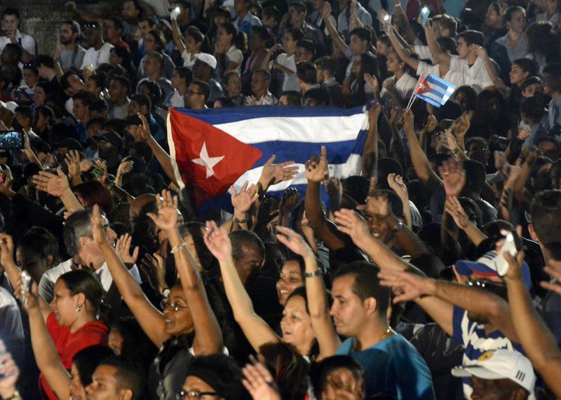 Häufiger als das Bild Fidel Castros war die kubanische Fahne zu sehen