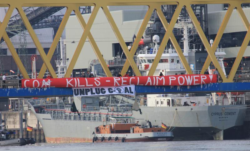 Protestaktion im Hamburg-Moorburg, dabei ging es auch um Kohle aus Kolumbien