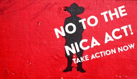 """Protest-Kampagne der """"Globalen Allianz für Gerechtigkeit"""" in den USA gegen den Nica Act"""