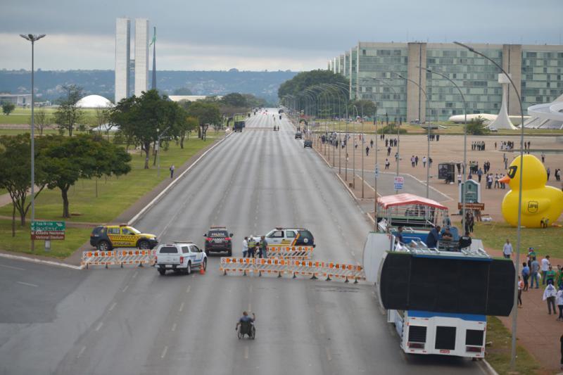 Das Regierungsviertel in Brasília war für Fahrzeuge weiträumig abgesperrt