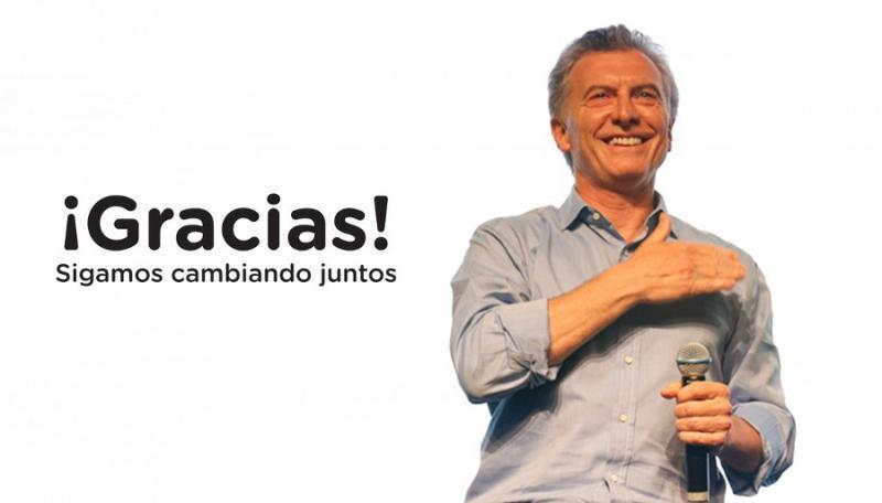 """Via Twitter richtete sich Argentiniens Präsident Macri nach dem Cambiemos-Sieg an die Wählerinnen  und Wählern: """"Danke - wir verändern gemeinsam weiter"""""""