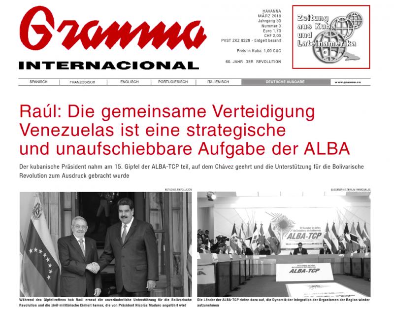 Die deutsche Ausgabe der Granma Internacional wird vom Verlag 8. Mai herausgegeben