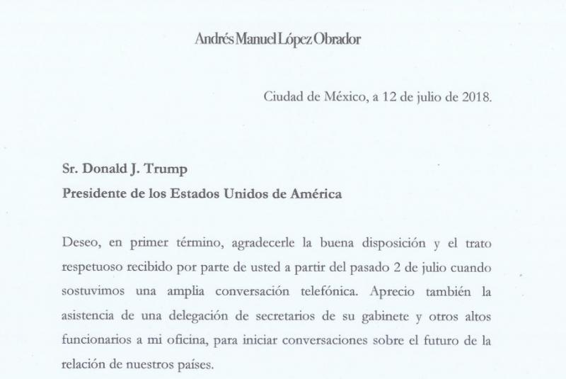 """In einem Brief vom 12. Juli schlägt Amlo dem US-Präsidenten einen """"Masterplan"""" zur Eindämmung der Migration vor"""