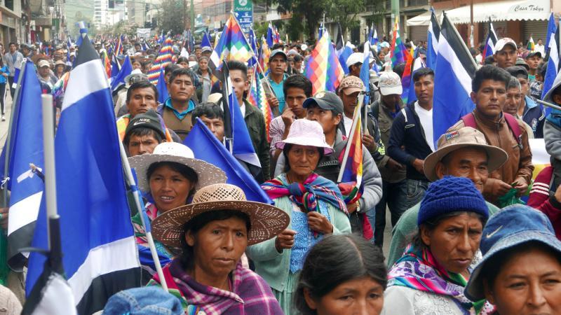 Demonstration in Cochabamba zur Unterstützung von Präsident Evo Morales