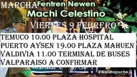 Am Freitag fand in Temuco, Chile, eine Demonstration zur Unterstützung von Cordova statt