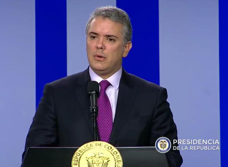 Kolumbiens Präsident Iván Duque forderte bei der Pressekonferenz weitere Sanktionen gegen Venezuela (Screenshot)