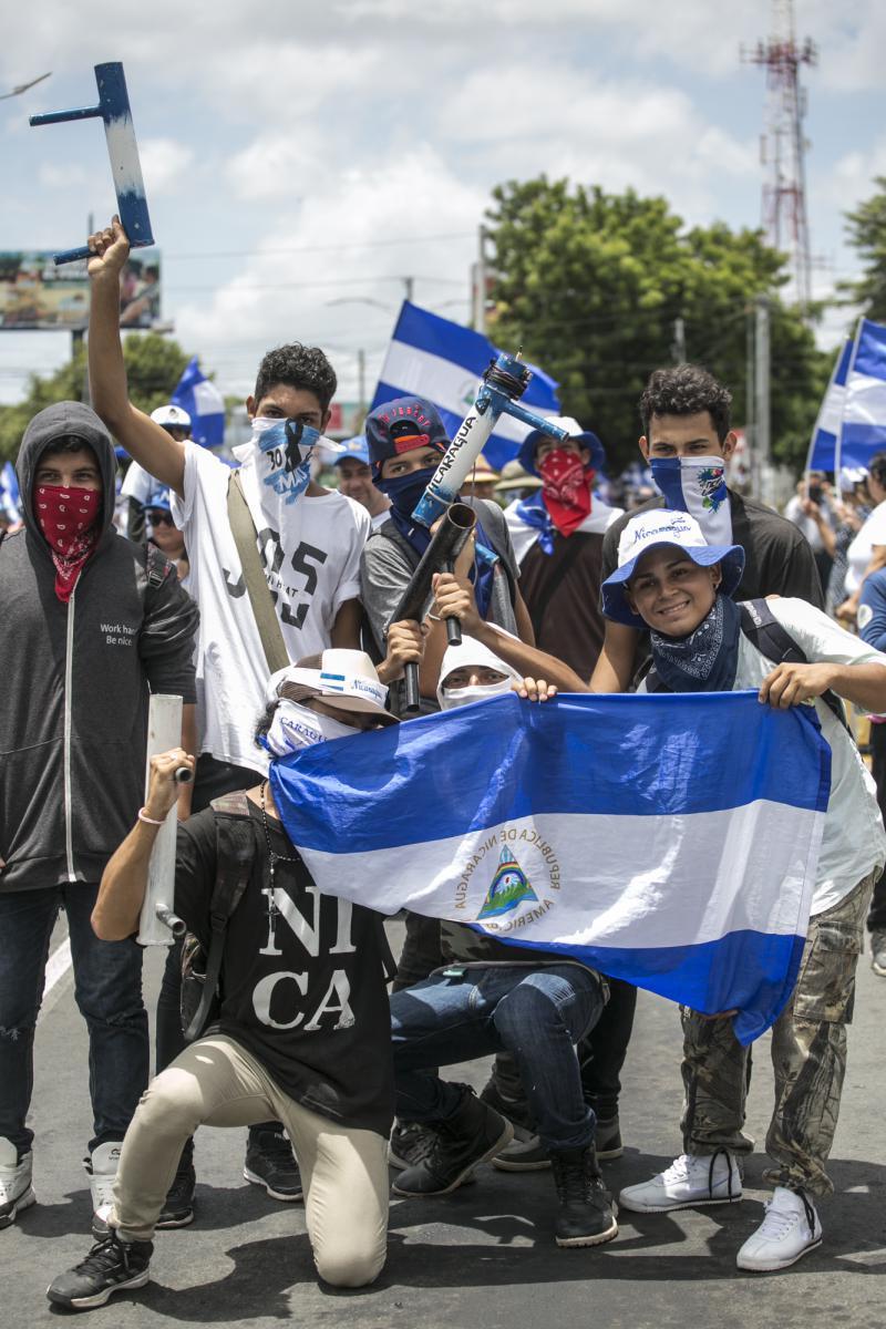 Junge Demonstranten gegen die Regierung von Nicaragua (Juli 2018)